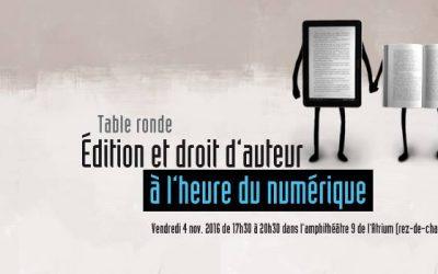 Édition et droit d'auteur à l'heure du numérique | Table ronde à Strasbourg le 04 Novembre